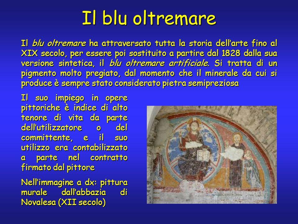 Il blu oltremare Il blu oltremare ha attraversato tutta la storia dellarte fino al XIX secolo, per essere poi sostituito a partire dal 1828 dalla sua versione sintetica, il blu oltremare artificiale.
