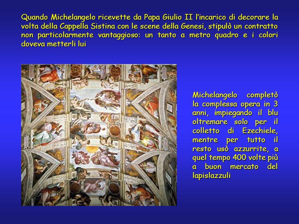 Quando Michelangelo ricevette da Papa Giulio II lincarico di decorare la volta della Cappella Sistina con le scene della Genesi, stipulò un contratto