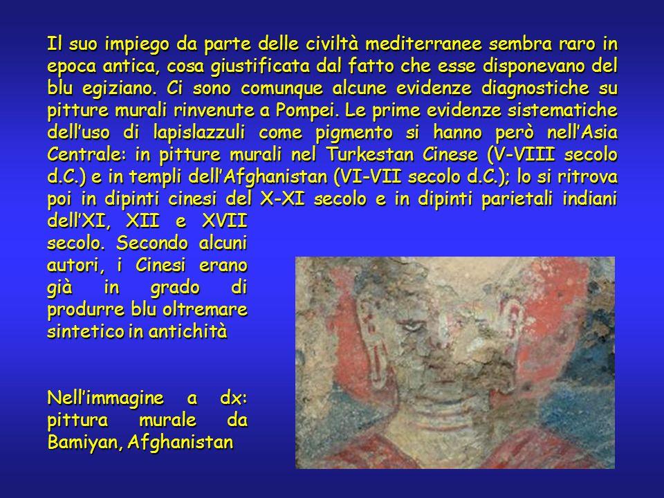 Il suo impiego da parte delle civiltà mediterranee sembra raro in epoca antica, cosa giustificata dal fatto che esse disponevano del blu egiziano. Ci
