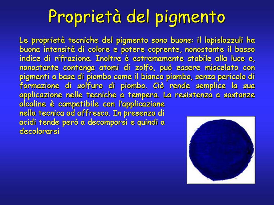 Proprietà del pigmento Le proprietà tecniche del pigmento sono buone: il lapislazzuli ha buona intensità di colore e potere coprente, nonostante il basso indice di rifrazione.