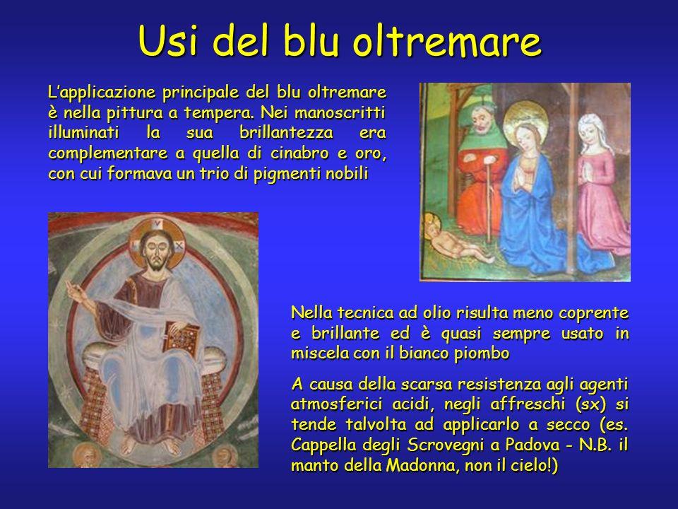 Usi del blu oltremare Lapplicazione principale del blu oltremare è nella pittura a tempera.