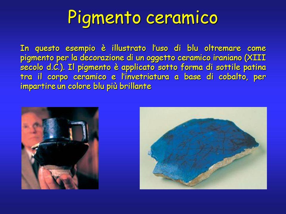 Pigmento ceramico In questo esempio è illustrato luso di blu oltremare come pigmento per la decorazione di un oggetto ceramico iraniano (XIII secolo d.C.).