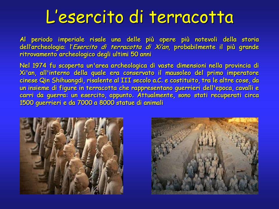 Lesercito di terracotta Al periodo imperiale risale una delle più opere più notevoli della storia dellarcheologia: lEsercito di terracotta di Xian, pr