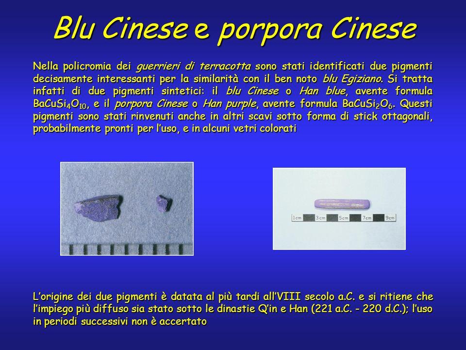 Nella policromia dei guerrieri di terracotta sono stati identificati due pigmenti decisamente interessanti per la similarità con il ben noto blu Egizi