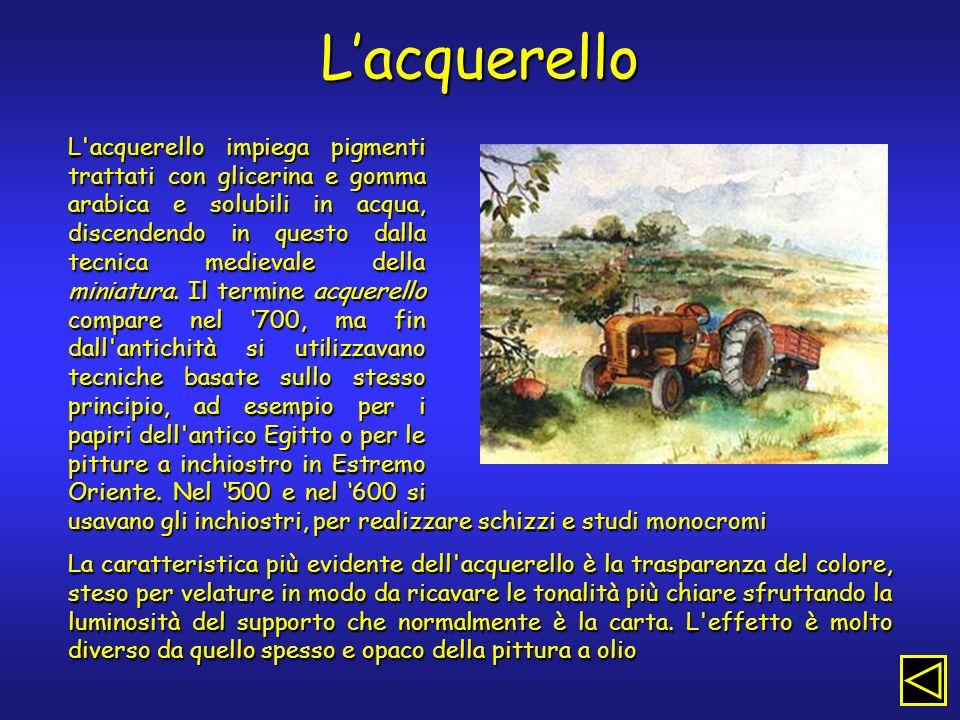Lacquerello L acquerello impiega pigmenti trattati con glicerina e gomma arabica e solubili in acqua, discendendo in questo dalla tecnica medievale della miniatura.