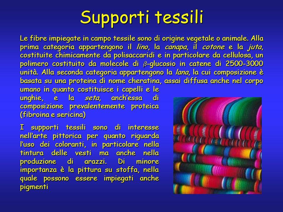 Supporti tessili Le fibre impiegate in campo tessile sono di origine vegetale o animale.