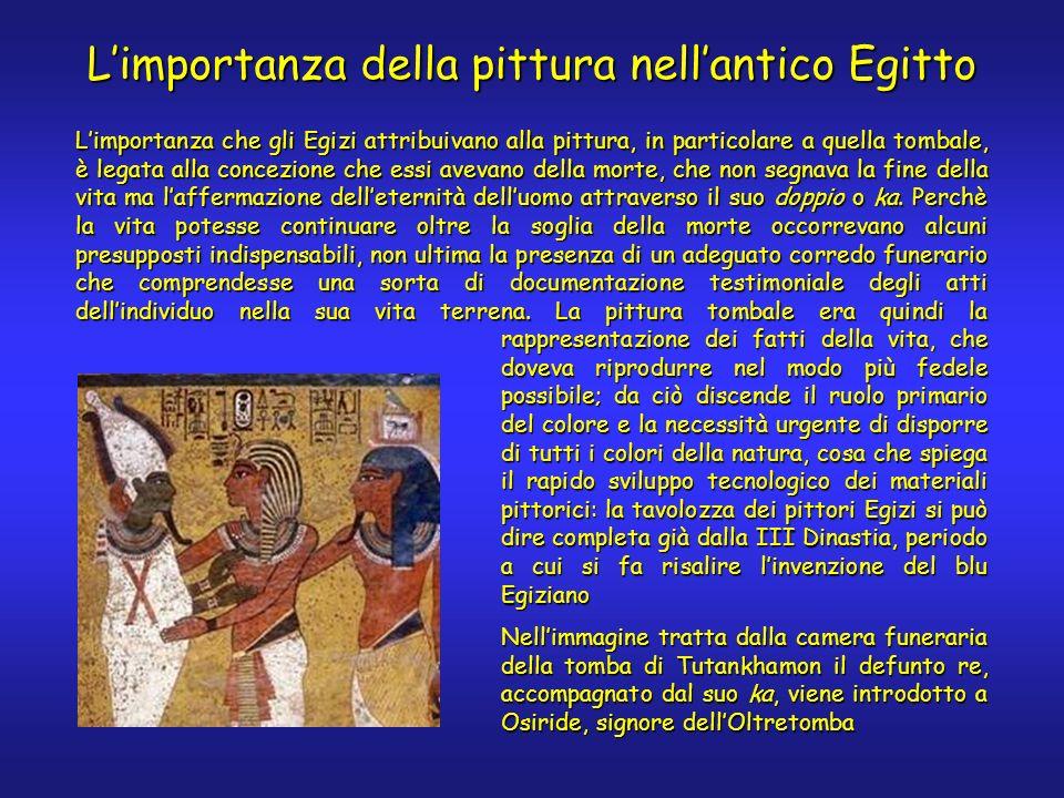 Limportanza che gli Egizi attribuivano alla pittura, in particolare a quella tombale, è legata alla concezione che essi avevano della morte, che non segnava la fine della vita ma laffermazione delleternità delluomo attraverso il suo doppio o ka.