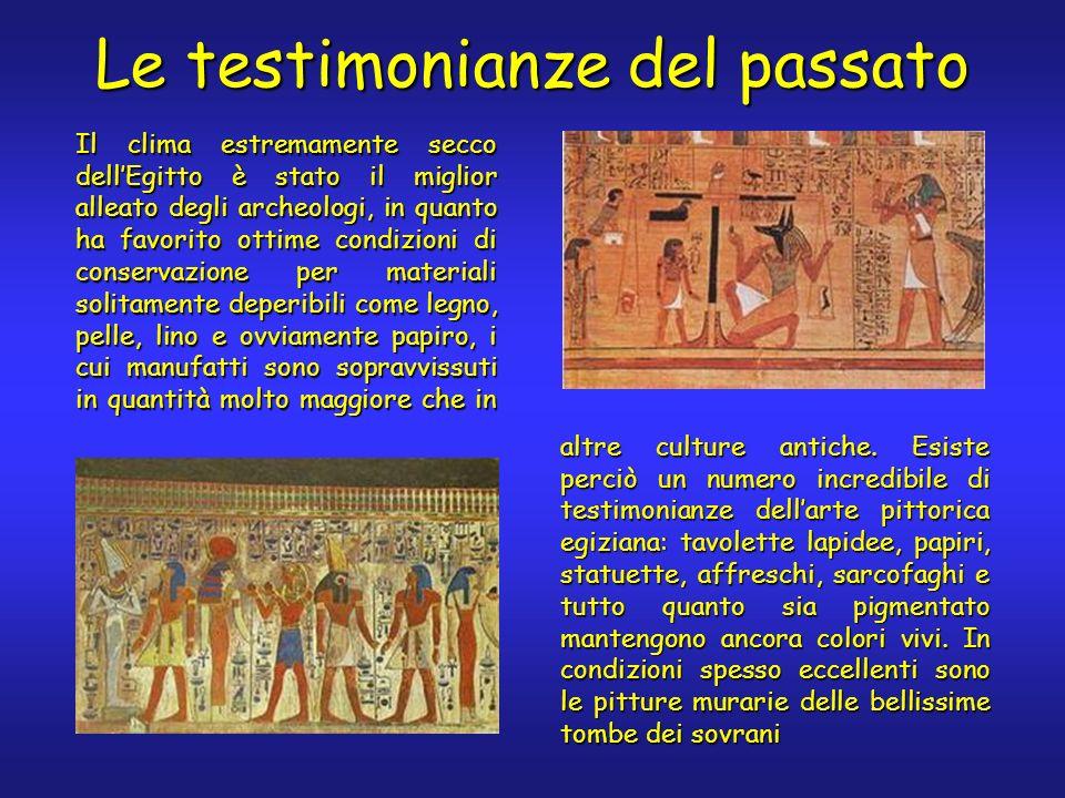 Le testimonianze del passato Il clima estremamente secco dellEgitto è stato il miglior alleato degli archeologi, in quanto ha favorito ottime condizio