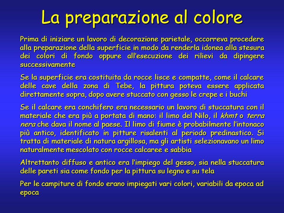 La preparazione al colore Prima di iniziare un lavoro di decorazione parietale, occorreva procedere alla preparazione della superficie in modo da rend