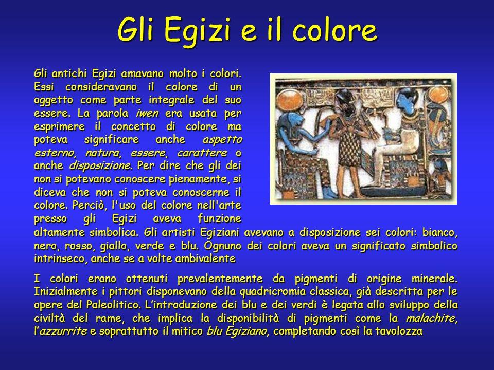 Gli Egizi e il colore altamente simbolica. Gli artisti Egiziani avevano a disposizione sei colori: bianco, nero, rosso, giallo, verde e blu. Ognuno de