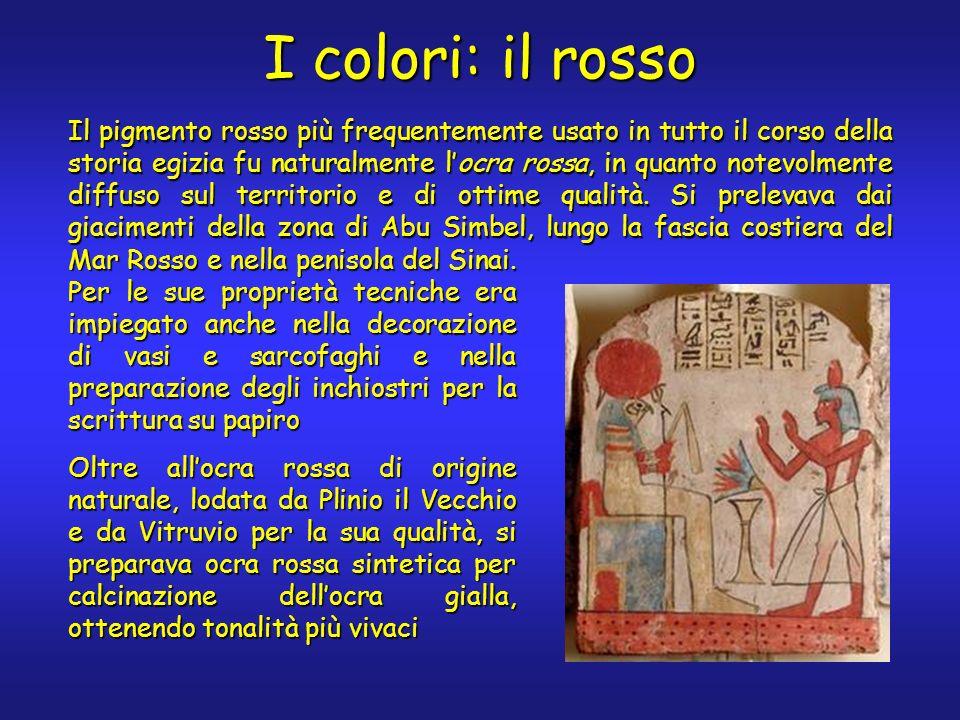I colori: il rosso Il pigmento rosso più frequentemente usato in tutto il corso della storia egizia fu naturalmente locra rossa, in quanto notevolment
