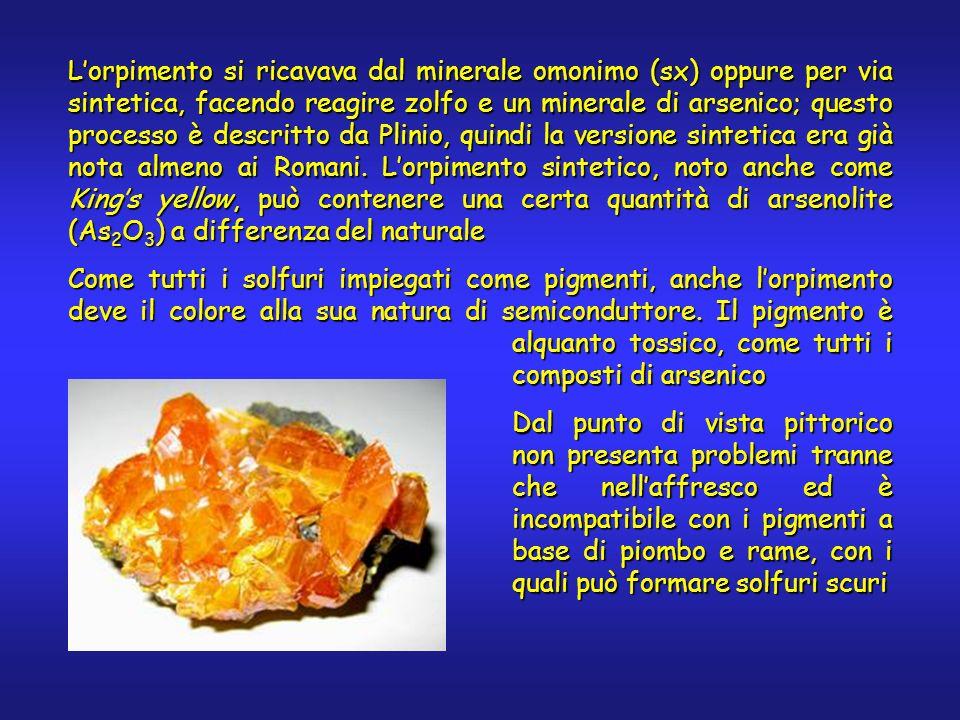 Lorpimento si ricavava dal minerale omonimo (sx) oppure per via sintetica, facendo reagire zolfo e un minerale di arsenico; questo processo è descritto da Plinio, quindi la versione sintetica era già nota almeno ai Romani.