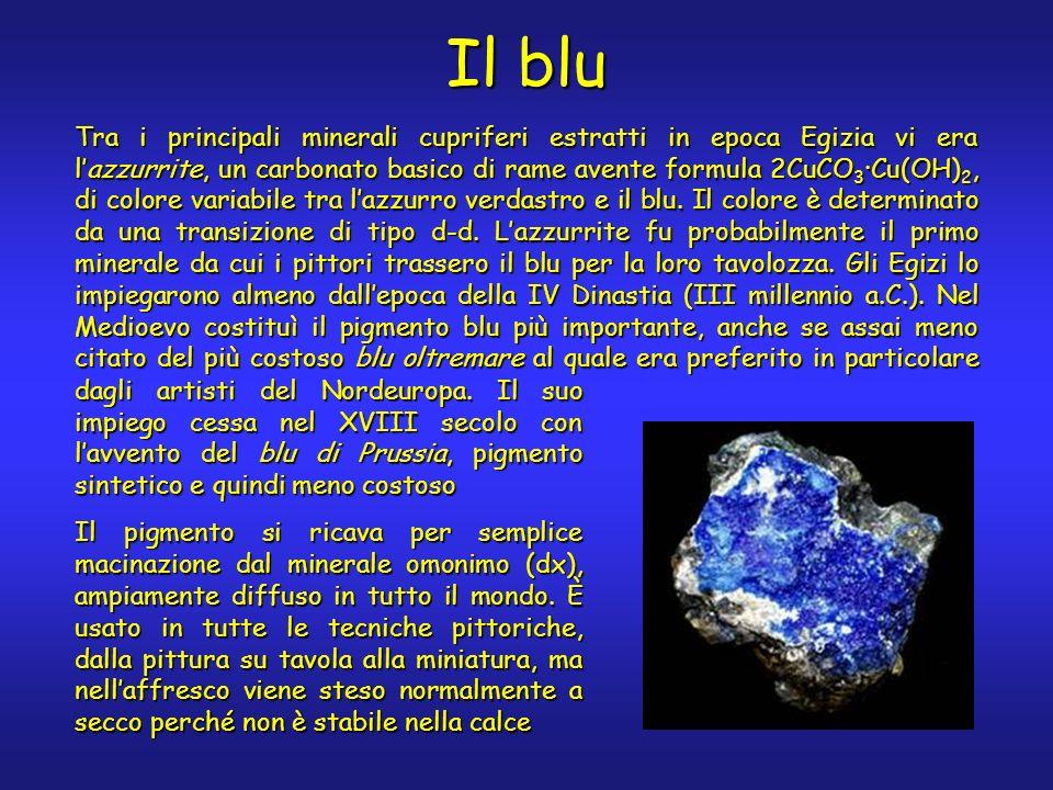 Il blu Tra i principali minerali cupriferi estratti in epoca Egizia vi era lazzurrite, un carbonato basico di rame avente formula 2CuCO 3 ·Cu(OH) 2, di colore variabile tra lazzurro verdastro e il blu.