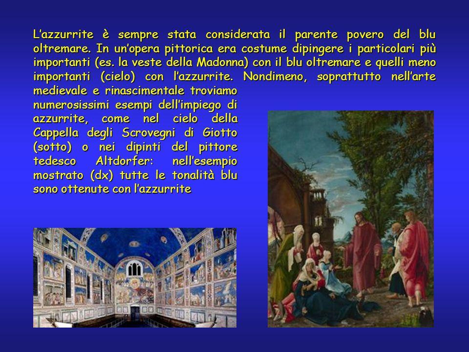Lazzurrite è sempre stata considerata il parente povero del blu oltremare. In unopera pittorica era costume dipingere i particolari più importanti (es
