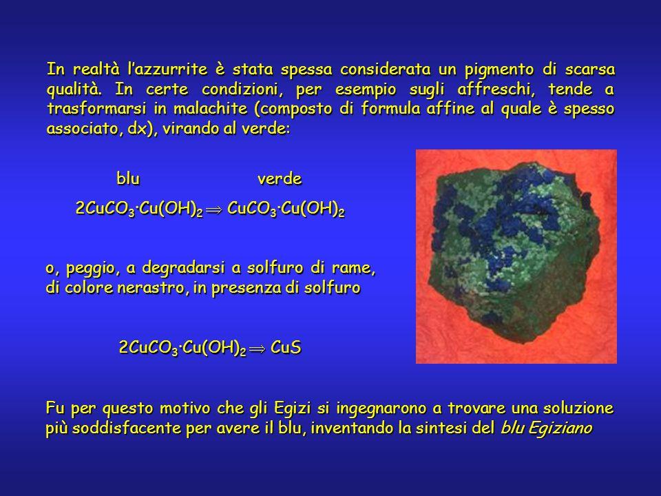 In realtà lazzurrite è stata spessa considerata un pigmento di scarsa qualità. In certe condizioni, per esempio sugli affreschi, tende a trasformarsi