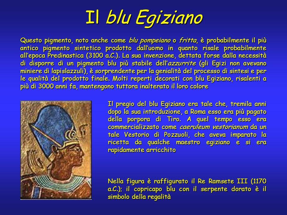 Il blu Egiziano Questo pigmento, noto anche come blu pompeiano o fritta, è probabilmente il più antico pigmento sintetico prodotto dalluomo in quanto