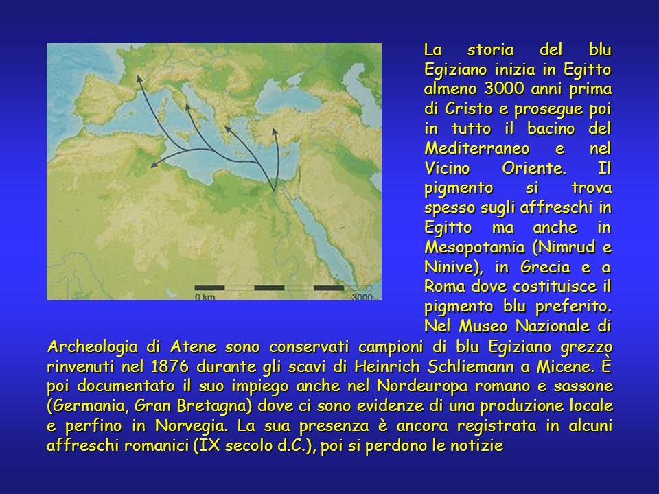 La storia del blu Egiziano inizia in Egitto almeno 3000 anni prima di Cristo e prosegue poi in tutto il bacino del Mediterraneo e nel Vicino Oriente.