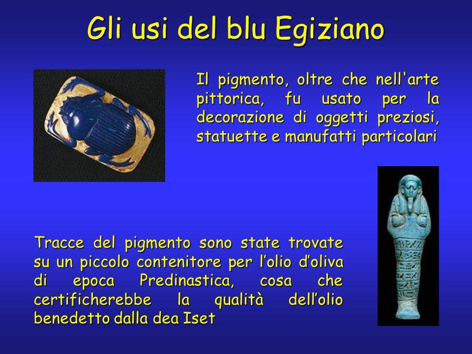 Gli usi del blu Egiziano Il pigmento, oltre che nell'arte pittorica, fu usato per la decorazione di oggetti preziosi, statuette e manufatti particolar