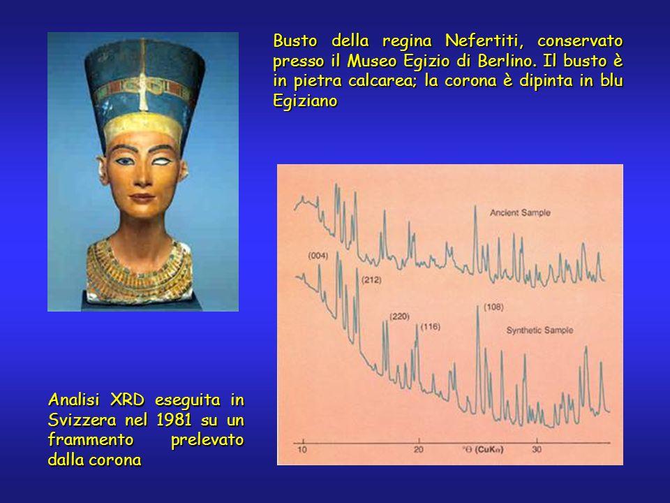 Busto della regina Nefertiti, conservato presso il Museo Egizio di Berlino. Il busto è in pietra calcarea; la corona è dipinta in blu Egiziano Analisi