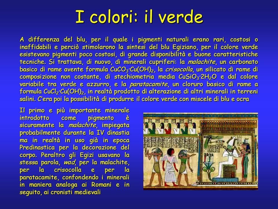 I colori: il verde A differenza del blu, per il quale i pigmenti naturali erano rari, costosi o inaffidabili e perciò stimolarono la sintesi del blu E
