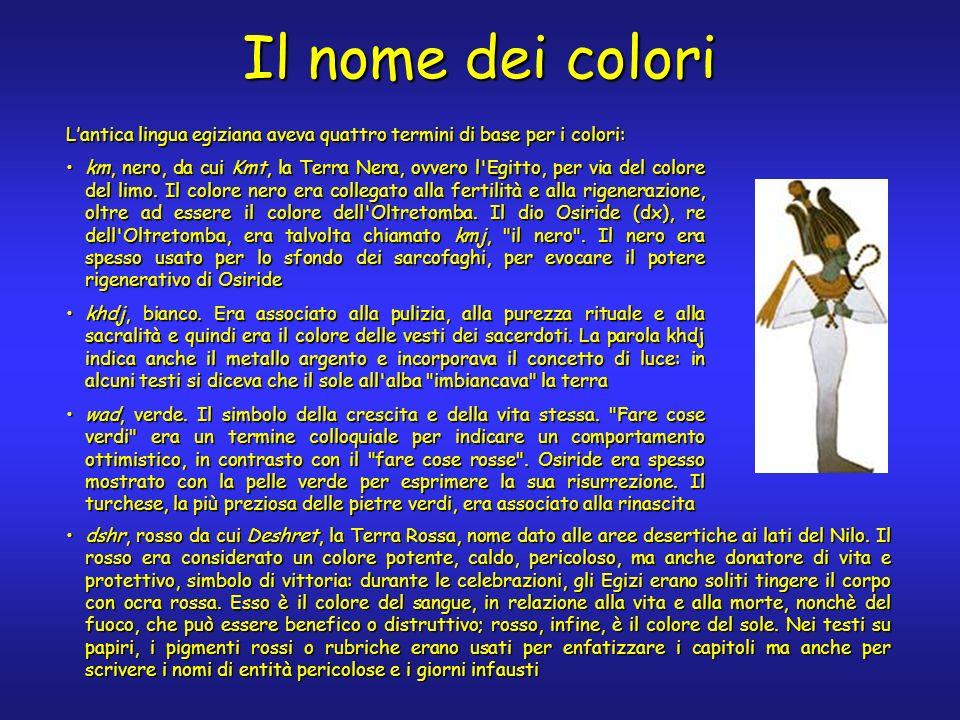 Altri colori Il colore giallo non ha un termine definito; la parola khenet indica locra gialla, il pigmento più comune per questo colore.