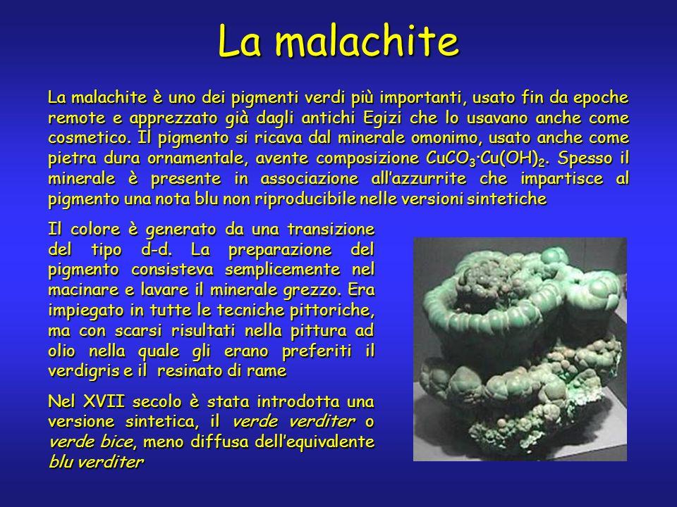 La malachite La malachite è uno dei pigmenti verdi più importanti, usato fin da epoche remote e apprezzato già dagli antichi Egizi che lo usavano anche come cosmetico.