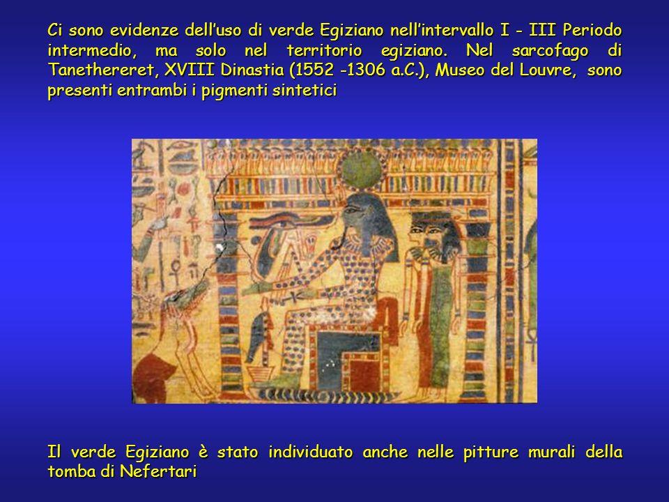 Ci sono evidenze delluso di verde Egiziano nellintervallo I - III Periodo intermedio, ma solo nel territorio egiziano. Nel sarcofago di Tanethereret,