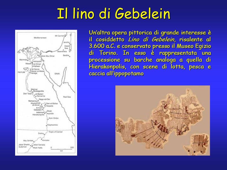 Il lino di Gebelein Unaltra opera pittorica di grande interesse è il cosiddetto Lino di Gebelein, risalente al 3.600 a.C. e conservato presso il Museo
