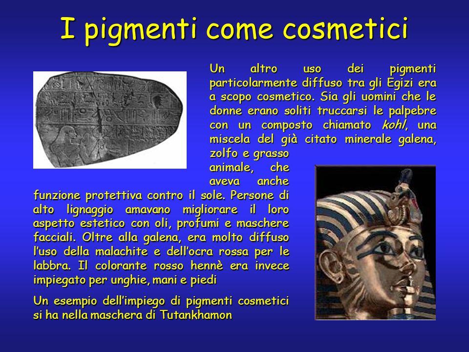 I pigmenti come cosmetici Un altro uso dei pigmenti particolarmente diffuso tra gli Egizi era a scopo cosmetico. Sia gli uomini che le donne erano sol
