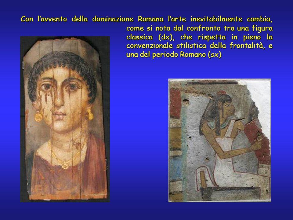 come si nota dal confronto tra una figura classica (dx), che rispetta in pieno la convenzionale stilistica della frontalità, e una del periodo Romano