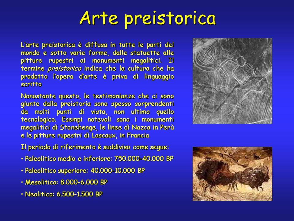 Arte preistorica Larte preistorica è diffusa in tutte le parti del mondo e sotto varie forme, dalle statuette alle pitture rupestri ai monumenti megal