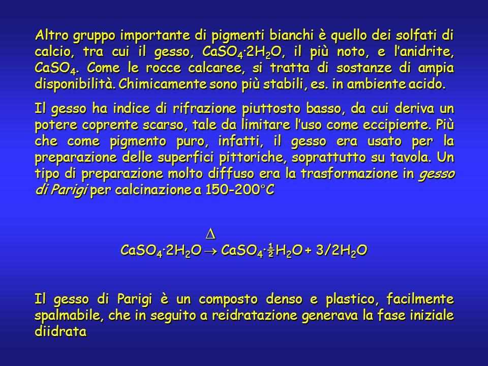 Altro gruppo importante di pigmenti bianchi è quello dei solfati di calcio, tra cui il gesso, CaSO 4 2H 2 O, il più noto, e lanidrite, CaSO 4. Come le