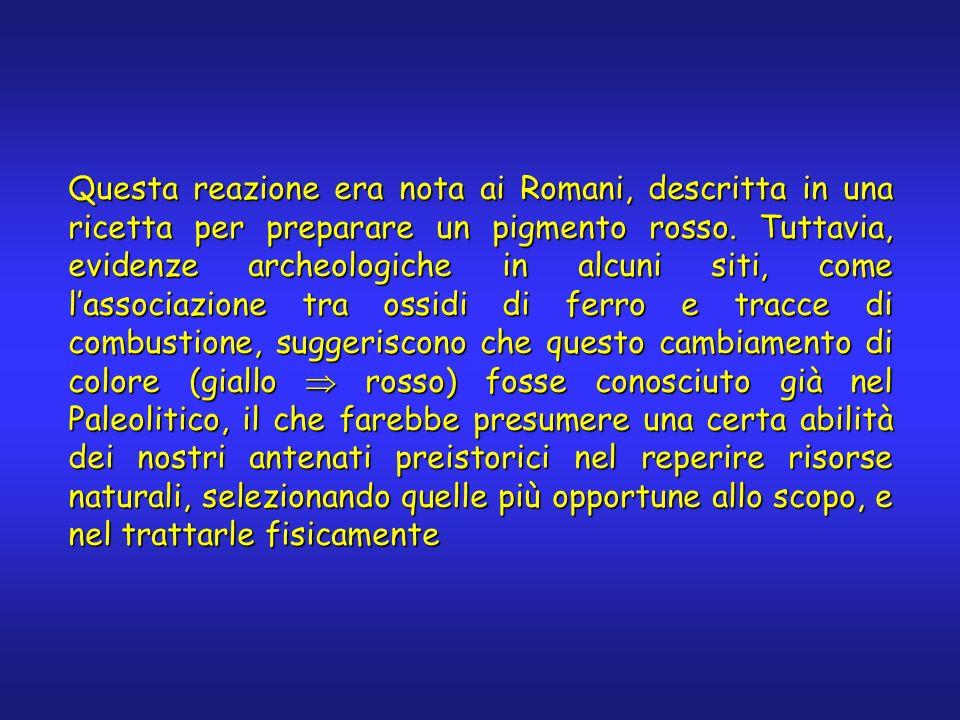 Questa reazione era nota ai Romani, descritta in una ricetta per preparare un pigmento rosso. Tuttavia, evidenze archeologiche in alcuni siti, come la