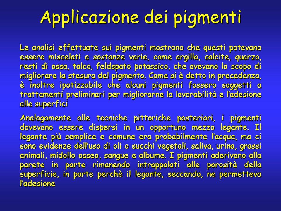 Applicazione dei pigmenti Le analisi effettuate sui pigmenti mostrano che questi potevano essere miscelati a sostanze varie, come argilla, calcite, qu