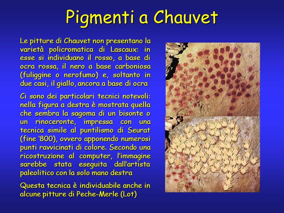 Pigmenti a Chauvet Le pitture di Chauvet non presentano la varietà policromatica di Lascaux: in esse si individuano il rosso, a base di ocra rossa, il
