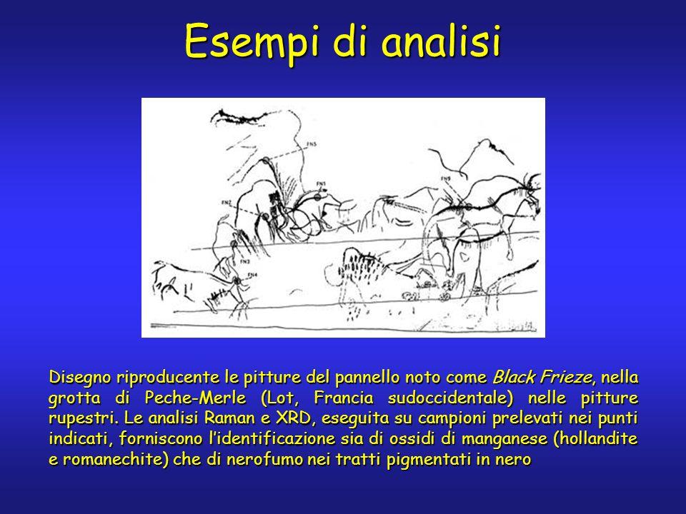 Esempi di analisi Disegno riproducente le pitture del pannello noto come Black Frieze, nella grotta di Peche-Merle (Lot, Francia sudoccidentale) nelle pitture rupestri.