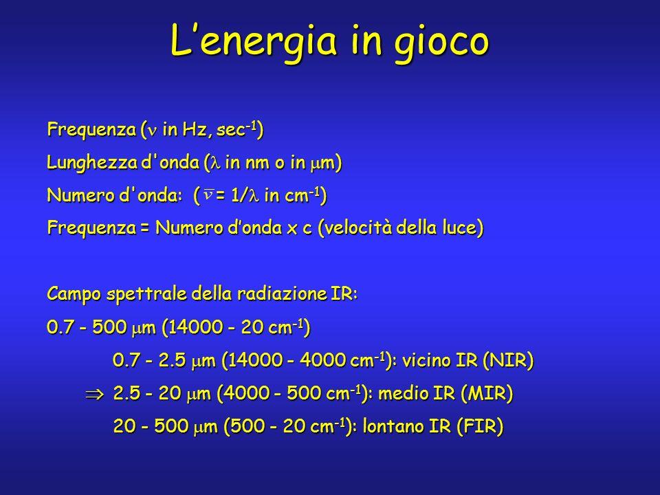 Lenergia in gioco Frequenza ( in Hz, sec -1 ) Lunghezza d onda ( in nm o in m) Numero d onda: ( = 1/ in cm -1 ) Frequenza = Numero donda x c (velocità della luce) Campo spettrale della radiazione IR: 0.7 - 500 m (14000 - 20 cm -1 ) 0.7 - 2.5 m (14000 - 4000 cm -1 ): vicino IR (NIR) 2.5 - 20 m (4000 - 500 cm -1 ): medio IR (MIR) 2.5 - 20 m (4000 - 500 cm -1 ): medio IR (MIR) 20 - 500 m (500 - 20 cm -1 ): lontano IR (FIR)