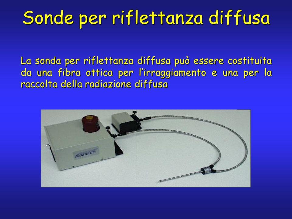 Sonde per riflettanza diffusa La sonda per riflettanza diffusa può essere costituita da una fibra ottica per lirraggiamento e una per la raccolta dell