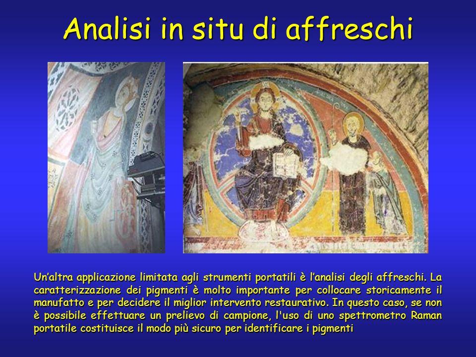 Analisi in situ di affreschi Unaltra applicazione limitata agli strumenti portatili è lanalisi degli affreschi. La caratterizzazione dei pigmenti è mo