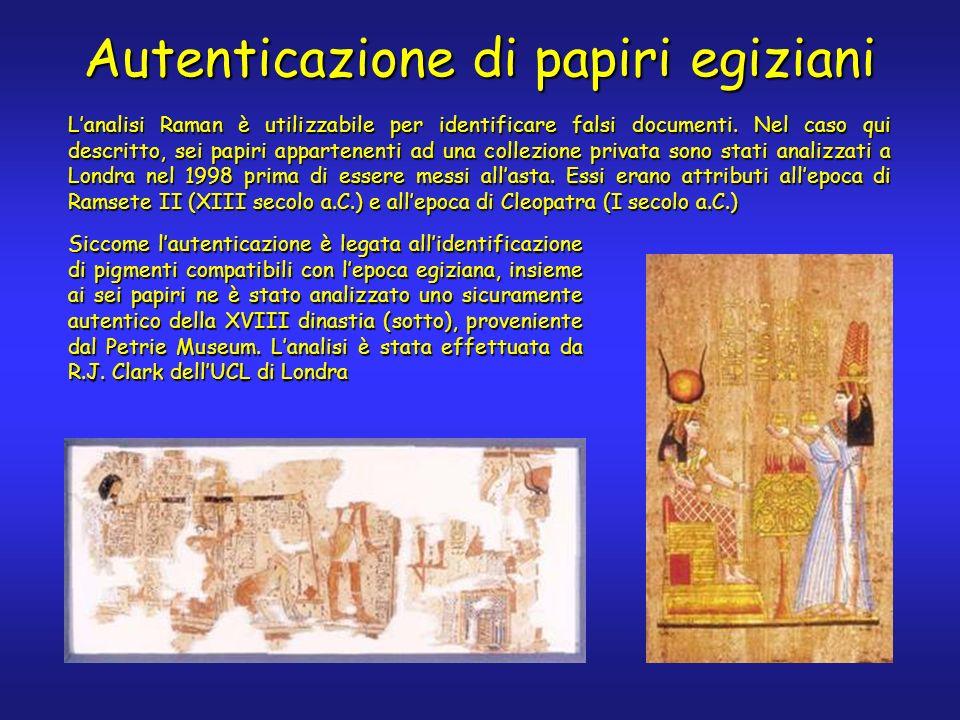 Autenticazione di papiri egiziani Lanalisi Raman è utilizzabile per identificare falsi documenti. Nel caso qui descritto, sei papiri appartenenti ad u