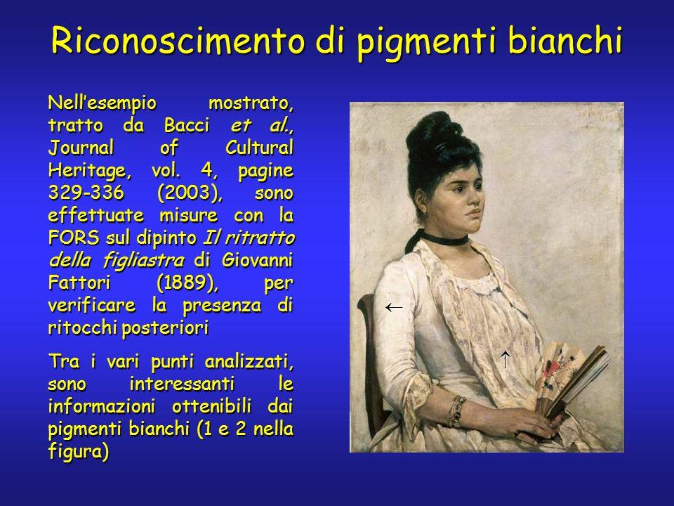 Riconoscimento di pigmenti bianchi Nellesempio mostrato, tratto da Bacci et al., Journal of Cultural Heritage, vol. 4, pagine 329-336 (2003), sono eff
