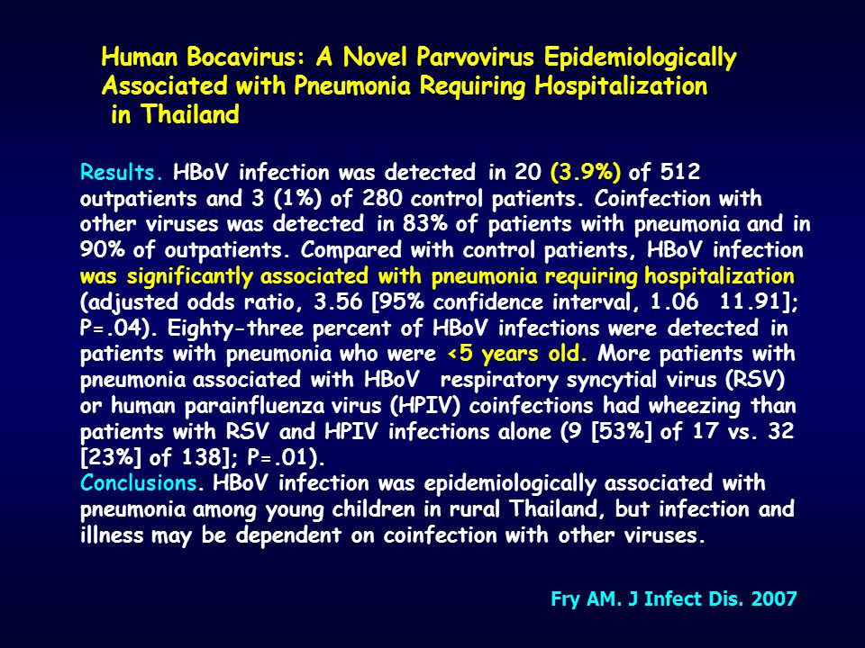Human Bocavirus: A Novel Parvovirus Epidemiologically Associated with Pneumonia Requiring Hospitalization in Thailand Results. HBoV infection was dete