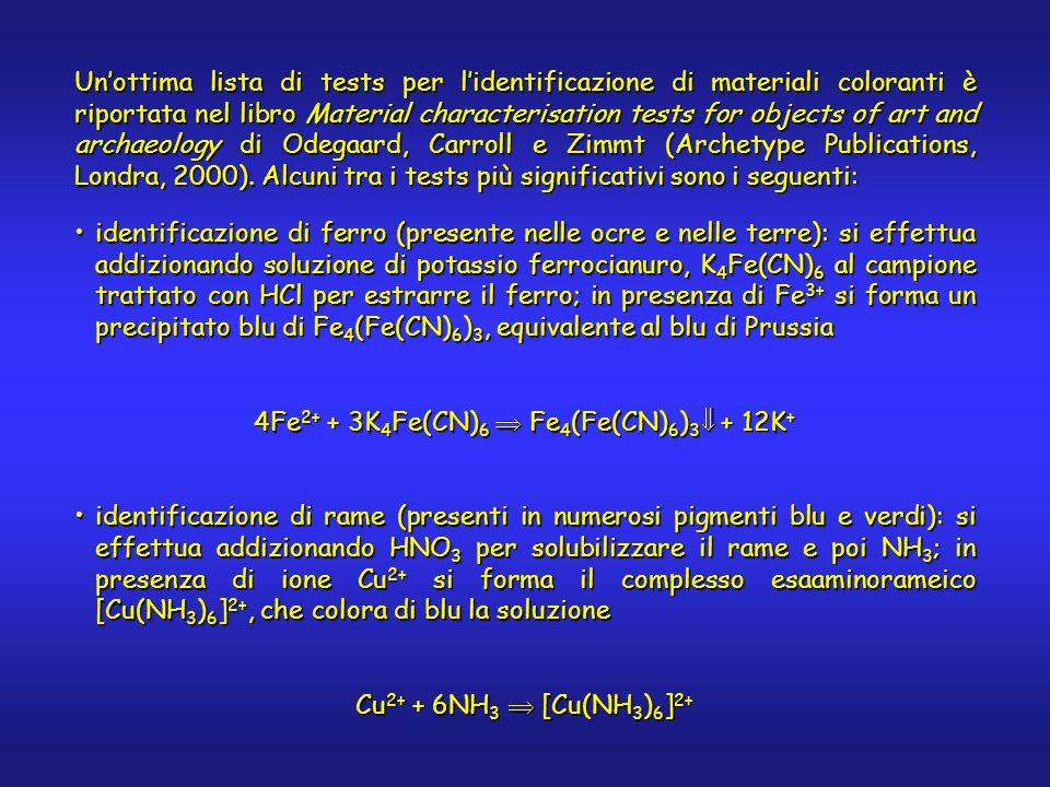 identificazione dellanione carbonato (presente nei pigmenti di natura calcarea e in azzurrite e malachite): si addiziona HCl, verificando linsorgere di effervescenza dovuta alla formazione di anidride carbonicaidentificazione dellanione carbonato (presente nei pigmenti di natura calcarea e in azzurrite e malachite): si addiziona HCl, verificando linsorgere di effervescenza dovuta alla formazione di anidride carbonica CO 3 2- + 2H + CO 2 + H 2 O identificazione di piombo (presente in minio, biacca, giallo di cromo, gialli di piombo e stagno): si addizionano 1-2 cristalli di potassio dicromato al campione, si versa 1 goccia di CH 3 COOH e dopo un minuto una goccia di acqua.