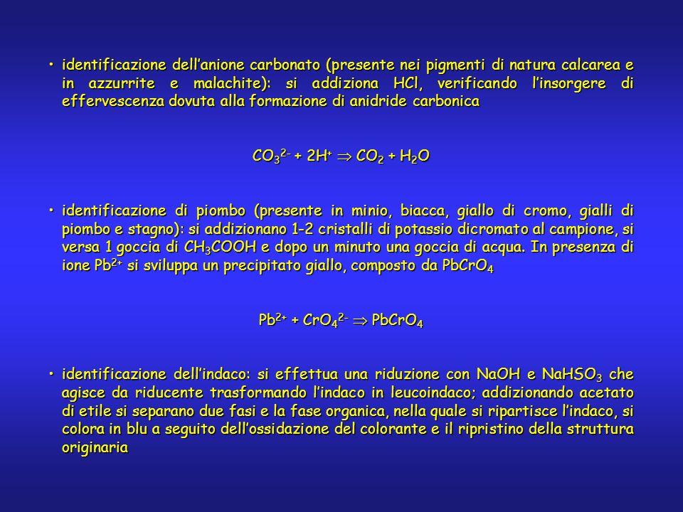identificazione dellanione carbonato (presente nei pigmenti di natura calcarea e in azzurrite e malachite): si addiziona HCl, verificando linsorgere d