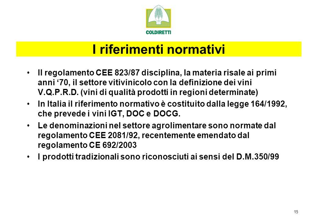 15 Il regolamento CEE 823/87 disciplina, la materia risale ai primi anni 70, il settore vitivinicolo con la definizione dei vini V.Q.P.R.D.