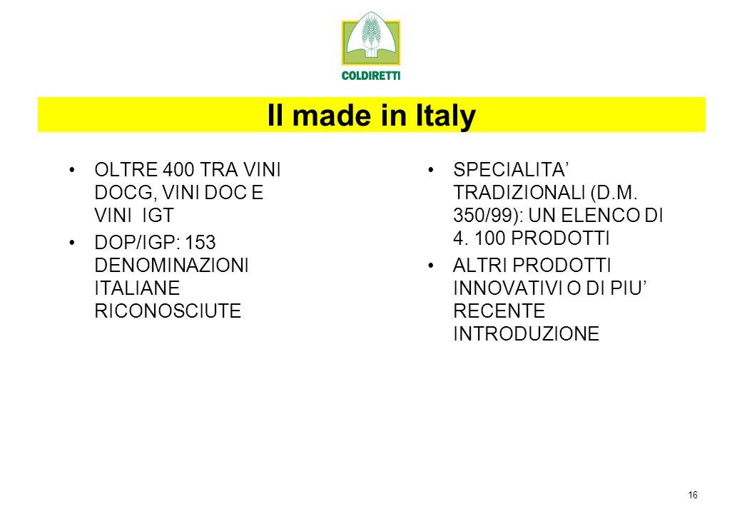 16 OLTRE 400 TRA VINI DOCG, VINI DOC E VINI IGT DOP/IGP: 153 DENOMINAZIONI ITALIANE RICONOSCIUTE SPECIALITA TRADIZIONALI (D.M.