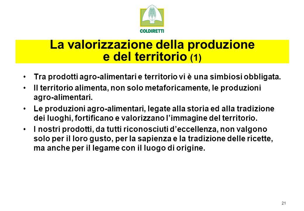 21 Tra prodotti agro-alimentari e territorio vi è una simbiosi obbligata.