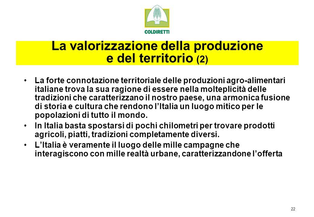 22 La forte connotazione territoriale delle produzioni agro-alimentari italiane trova la sua ragione di essere nella molteplicità delle tradizioni che caratterizzano il nostro paese, una armonica fusione di storia e cultura che rendono lItalia un luogo mitico per le popolazioni di tutto il mondo.