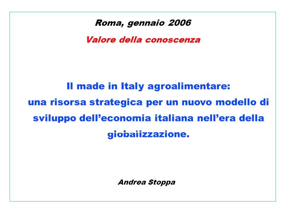 Andrea Stoppa Roma, gennaio 2006 Valore della conoscenza Il made in Italy agroalimentare: una risorsa strategica per un nuovo modello di sviluppo delleconomia italiana nellera della globalizzazione.