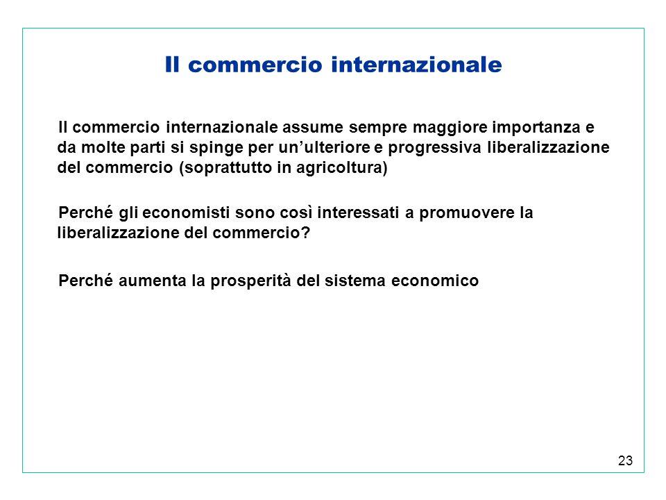 23 Il commercio internazionale Il commercio internazionale assume sempre maggiore importanza e da molte parti si spinge per unulteriore e progressiva liberalizzazione del commercio (soprattutto in agricoltura) Perché gli economisti sono così interessati a promuovere la liberalizzazione del commercio.